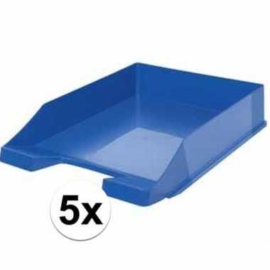 Kantoor postbakje blauw a4 5 stuks