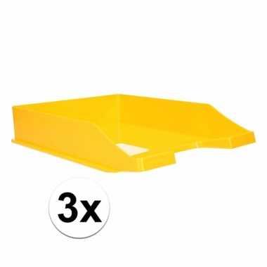 Kantoor postbakje geel a4 3 stuks