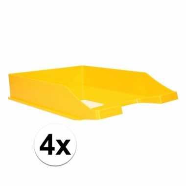 Kantoor postbakje geel a4 4 stuks