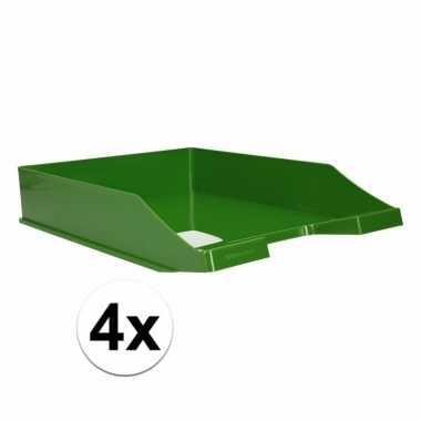 Kantoor postbakje groen a4 4 stuks