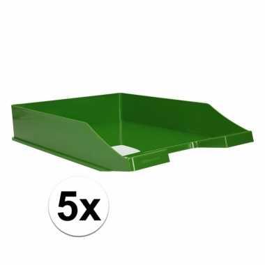 Kantoor postbakje groen a4 5 stuks