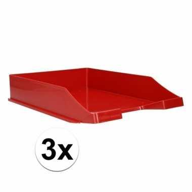 Kantoor postbakje rood a4 3 stuks