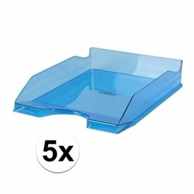Kantoor postbakje transparant blauw a4 5 stuks