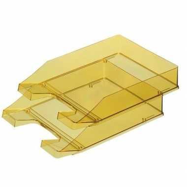 Kantoor postbakje transparant geel a4 van han