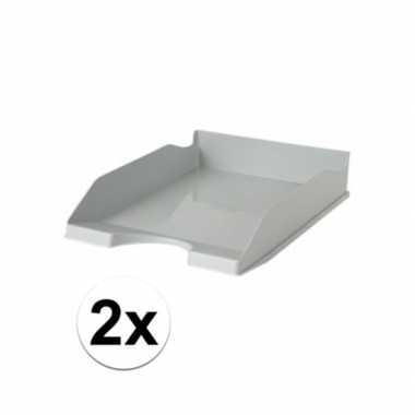 Kantoor postbakjes grijs a4 2 stuks