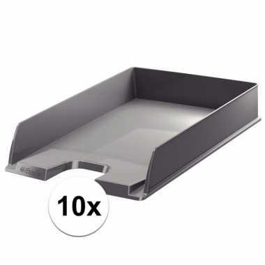 Kantoor postbakjes grijs a4 van esselte 10 stuks