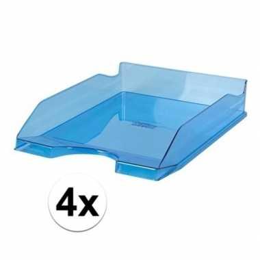 Kantoor postbakjes transparant blauw a4 4 stuks