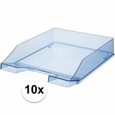 Kantoor postbakjes transparant blauw a4 van han 10 stuks