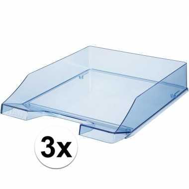 Kantoor postbakjes transparant blauw a4 van han 3 stuks