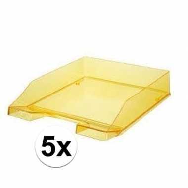Kantoor postbakjes transparant geel a4 van han 5 stuks