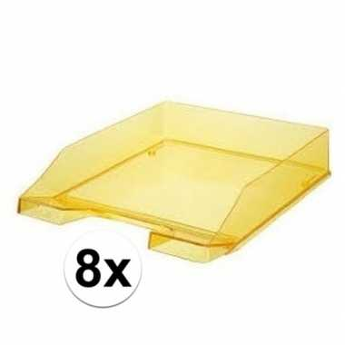Kantoor postbakjes transparant geel a4 van han 8 stuks