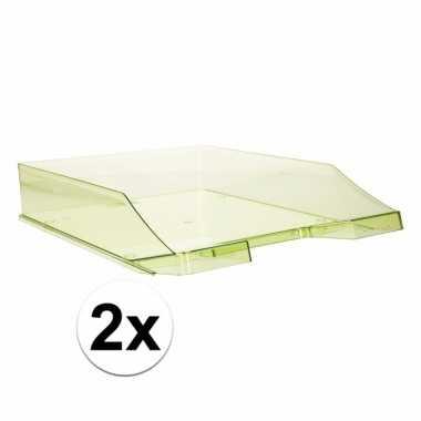 Kantoor postbakjes transparant groen a4 2 stuks