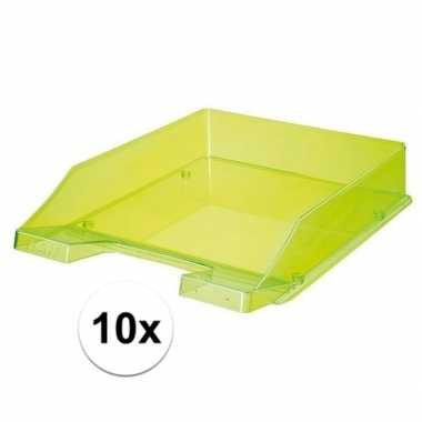 Kantoor postbakjes transparant groen a4 van han 10 stuks