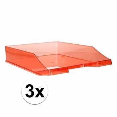 Kantoor postbakjes transparant rood a4 3 stuks