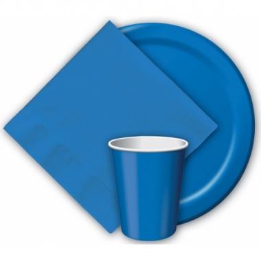 Kartonnen blauwe borden 23 cm