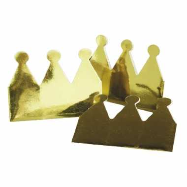 Kartonnen kroon goud 6 stuks