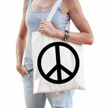 Katoenen boodschappentas met hippie peace teken