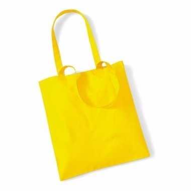 Katoenen boodschappentasje geel 10 liter