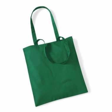 Katoenen boodschappentasje groen 10 liter