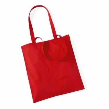 Katoenen boodschappentasje rood 10 liter