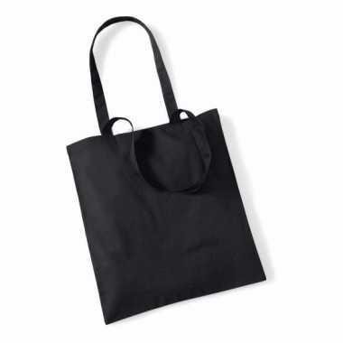 Katoenen boodschappentasje zwart 10 liter