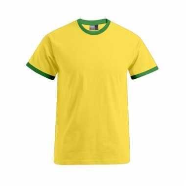 Katoenen herenshirt geel met groen