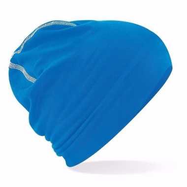 Katoenen stretch muts blauw voor dames