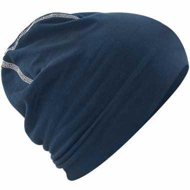 Katoenen stretch muts navy blauw voor heren