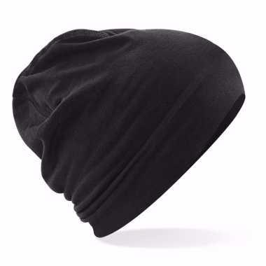 Katoenen stretch muts zwart voor dames