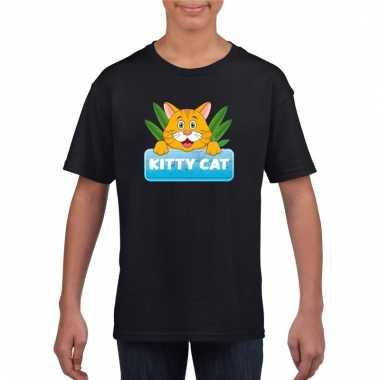 Katten dieren t-shirt zwart voor kinderen