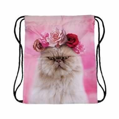Katten/poezen thema gymtasje roze