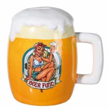 Keramieke bierglas spaarpot