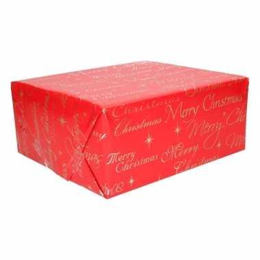 Kerst cadeaupapier rood met merry christmas