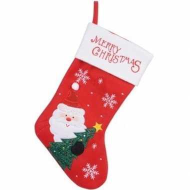 Kerst decoratie kerstsok rood met kerstman borduursel 40 cm