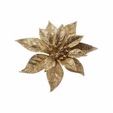 Kerst decoratie kerstster goud op clip 1