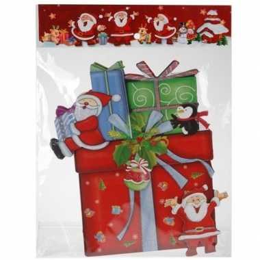 Kerst decoratie stickers 3d kadootje/cadeautje 34 cm