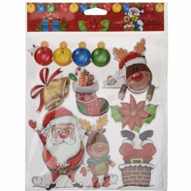 Kerst decoratie stickers 3d rendier/kerstman