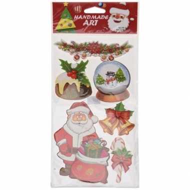 Kerst decoratie stickers 3d type 3 20 x 45 cm