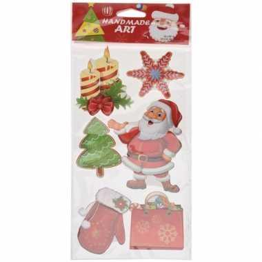 Kerst decoratie stickers 3d type 6 20 x 45 cm