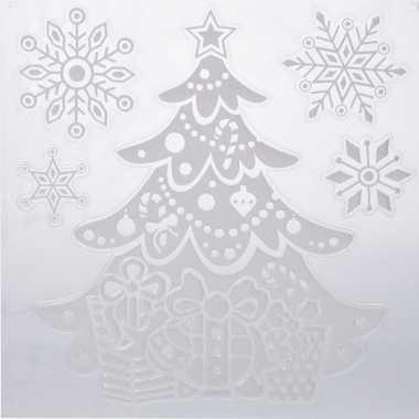 Kerst decoratie stickers kerstboom/sneeuwvlokken 31 x 39 cm