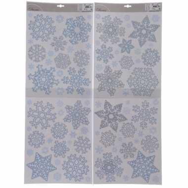 Kerst decoratie stickers sneeuwvlokjes plaatjes 30 x 46 cm