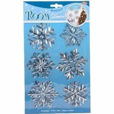 Kerst decoratie stickers zilveren sneeuwvlok/ijsbloem 19 x 30 cm