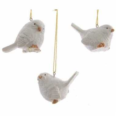 Kerst decoratie vogeltje wit 5 cm
