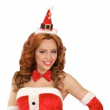 Kerst diadeem mini kerst hoedje met strik
