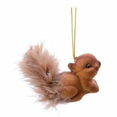 Kerst hangdecoratie bruin eekhoorntje type 1 4 cm