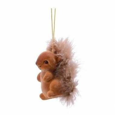 Kerst hangdecoratie bruin eekhoorntje type 2 6 cm