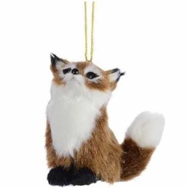 Kerst hangdecoratie bruin vosje 8 cm