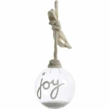 Kerst hangdecoratie glazen kerstbal 10 cm met sneeuw en tekst joy lan