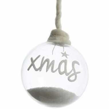 Kerst hangdecoratie glazen kerstbal 10 cm met sneeuw en tekst xmas la