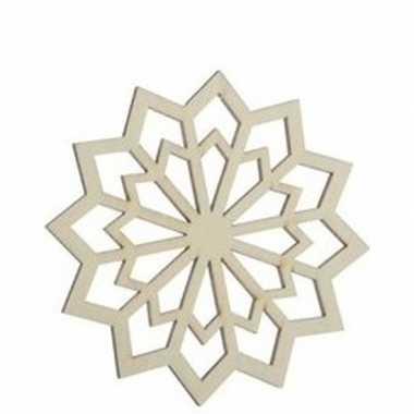 Kerst hangdecoratie houten sneeuwvlokje 9 cm